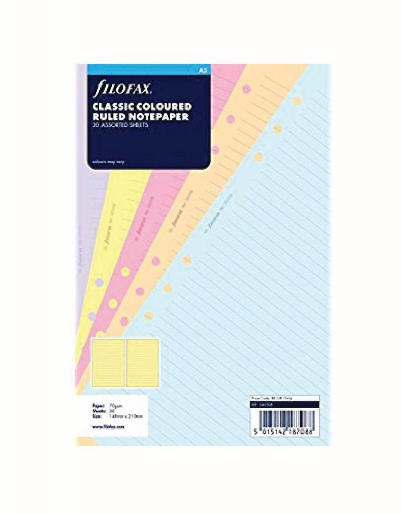 FILOFAX FILOFAX CLASSIC RULED COLORED NOTEPAPER A5