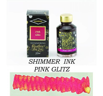 DIAMINE DIAMINE PINK GLITZ - 50ML SHIMMERING BOTTLED INK