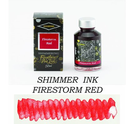 DIAMINE DIAMINE SHIMMERING BOTTLED INK 50ML - FIRESTORM RED (SILVER)