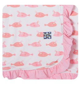 KICKEE PANTS Girl Cowfish Ruffle Stroller Blanket