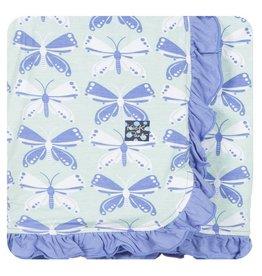 KICKEE PANTS Aloe Butterfly Ruffle Stroller Blanket