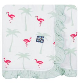 KICKEE PANTS Natural Flamingo Ruffle Stroller Blanket