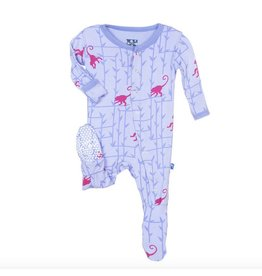 KICKEE PANTS Lilac Forest Monkey Footie