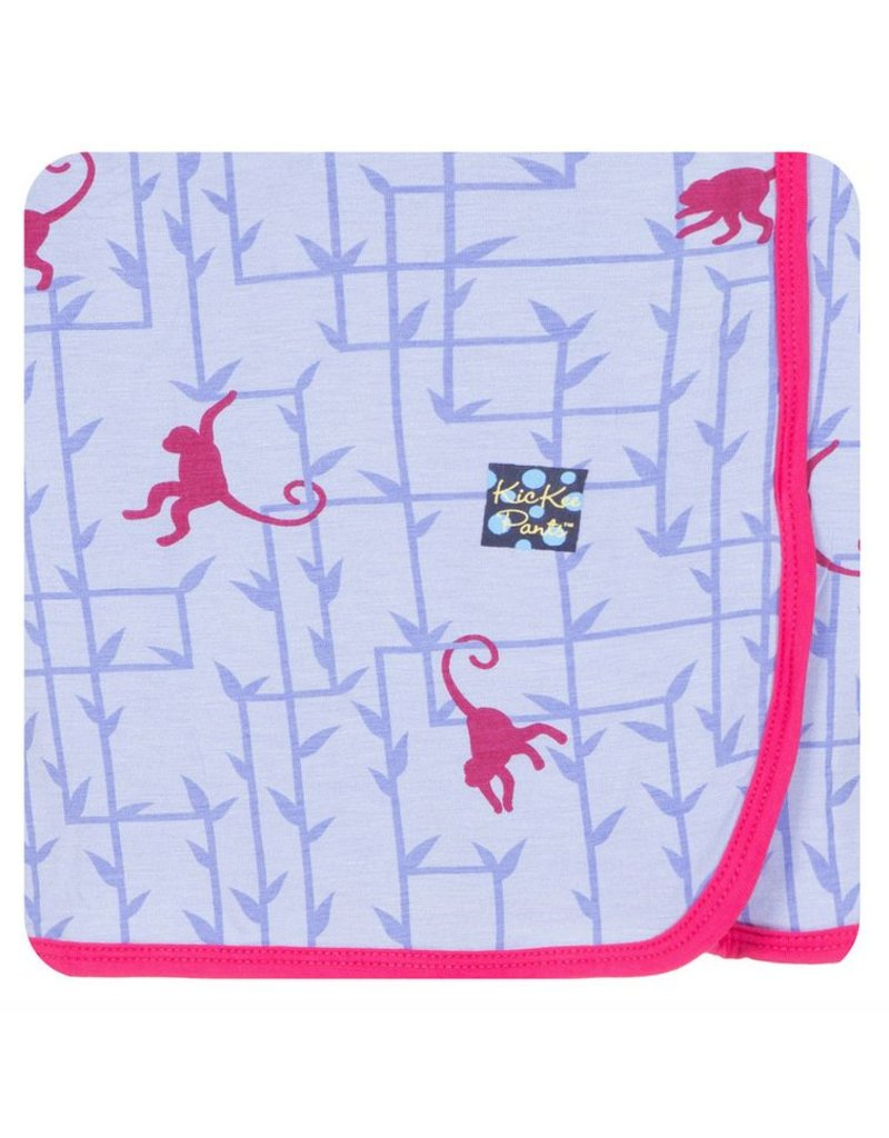KICKEE PANTS Lilac Forest Monkey Swaddling Blanket