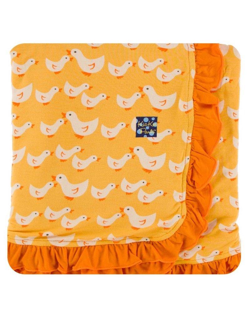 KICKEE PANTS Fuzzy Bee Ducks Ruffle Stroller Blanket