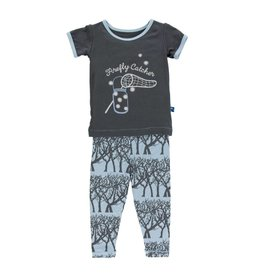KICKEE PANTS Pond Fireflies Short Sleeve Pajama Set