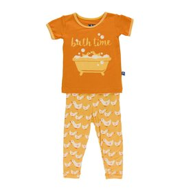 KICKEE PANTS Fuzzy Bee Ducks Short Sleeve Pajama Set