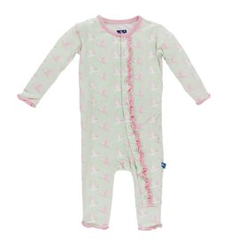 KICKEE PANTS Aloe Kingfisher Muffin Ruffle Coverall
