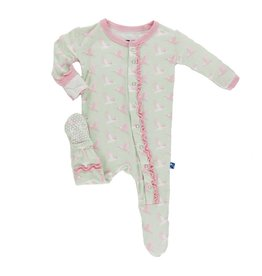 KICKEE PANTS Aloe Kingfisher Muffin Ruffle Footie