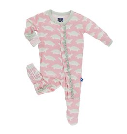 KICKEE PANTS Lotus Turtle Muffin Ruffle Footie