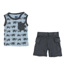 KICKEE PANTS Pond Raccoon Tank & Cargo Short Outfit
