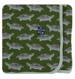 KICKEE PANTS Moss Turtle Swaddling Blanket