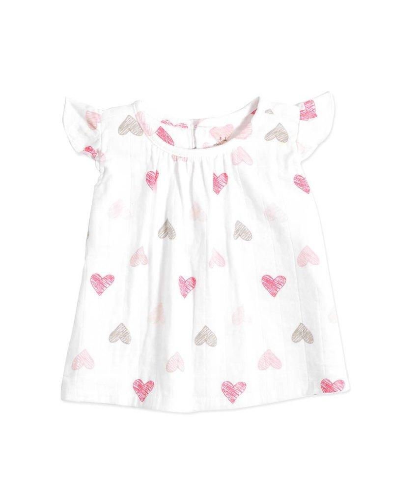ADEN & ANAIS Sketch Hearts Flutter Sleeve Top & Bloomer