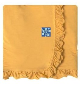 KICKEE PANTS Fuzzy Bee Solid Ruffle Stroller Blanket