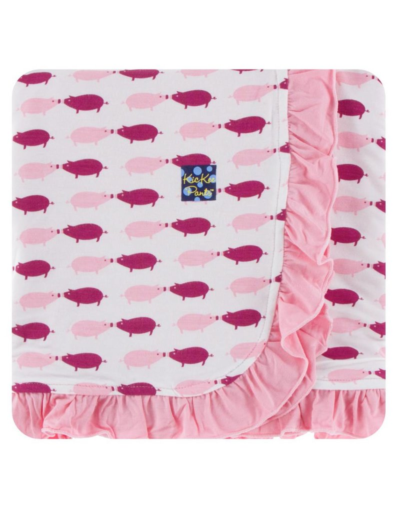 KICKEE PANTS Natural Pig Ruffle Stroller Blanket