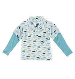 KICKEE PANTS Boy Dino Print Long Sleeve Double Layer Polo