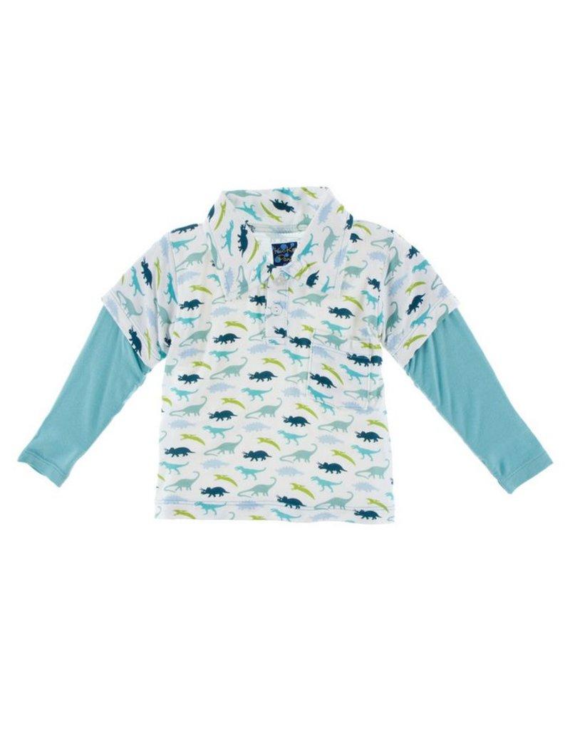 KICKEE PANTS Boy Dino Print Long Sleeve Double Layer Polo