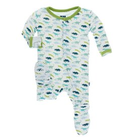 KICKEE PANTS Boy Dino Print Footie with Snaps