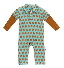 KICKEE PANTS Glacier Cookie Long Sleeve Polo Romper