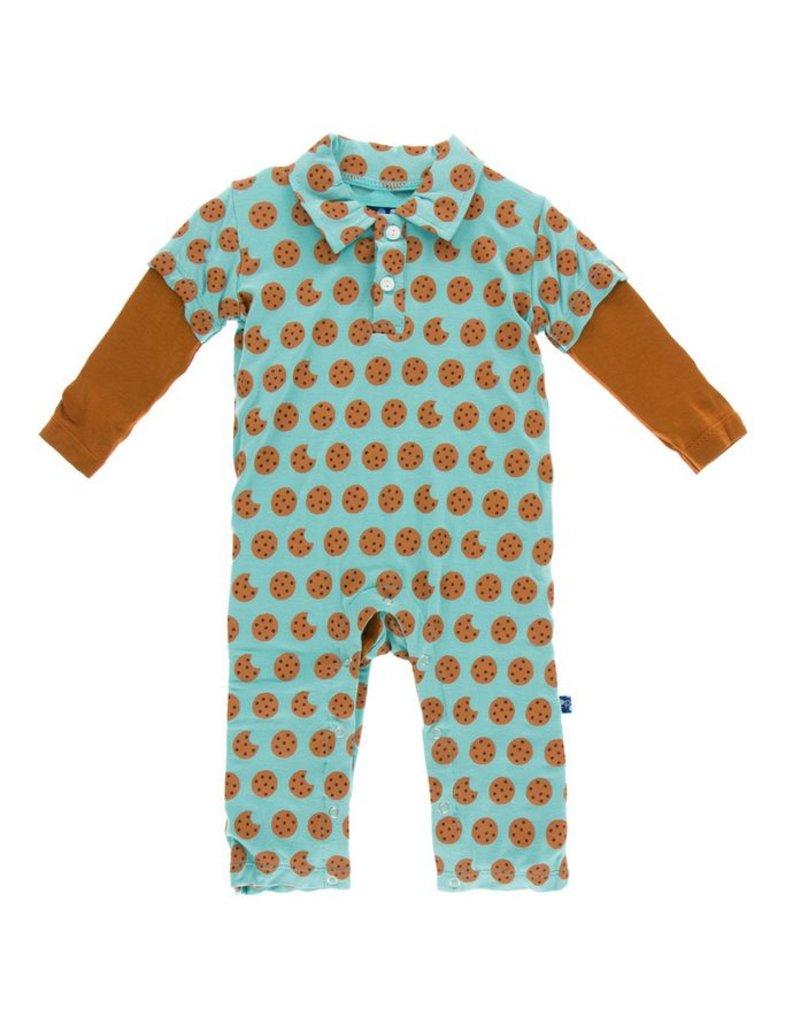 KICKEE PANTS Glacier Cookie Long Sleeve Polo Romper