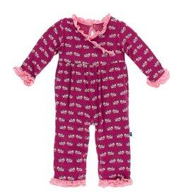 KICKEE PANTS Berry Cow Long Sleeve Kimono Ruffle Romper