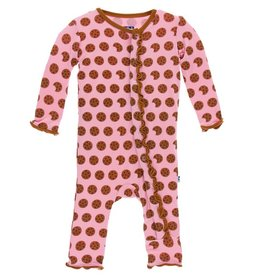 KICKEE PANTS Lotus Cookies Ruffle Coverall with Snaps
