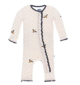 KICKEE PANTS Natural Honeycomb Ruffle Coverall with Snaps