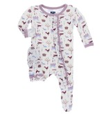KICKEE PANTS Girl Natural Farm Ruffle Footie with Snaps