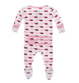 KICKEE PANTS Natural Pig Ruffle Footie with Snaps
