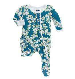 KICKEE PANTS Peacock Tree Canopy Ruffle Footie with Snaps