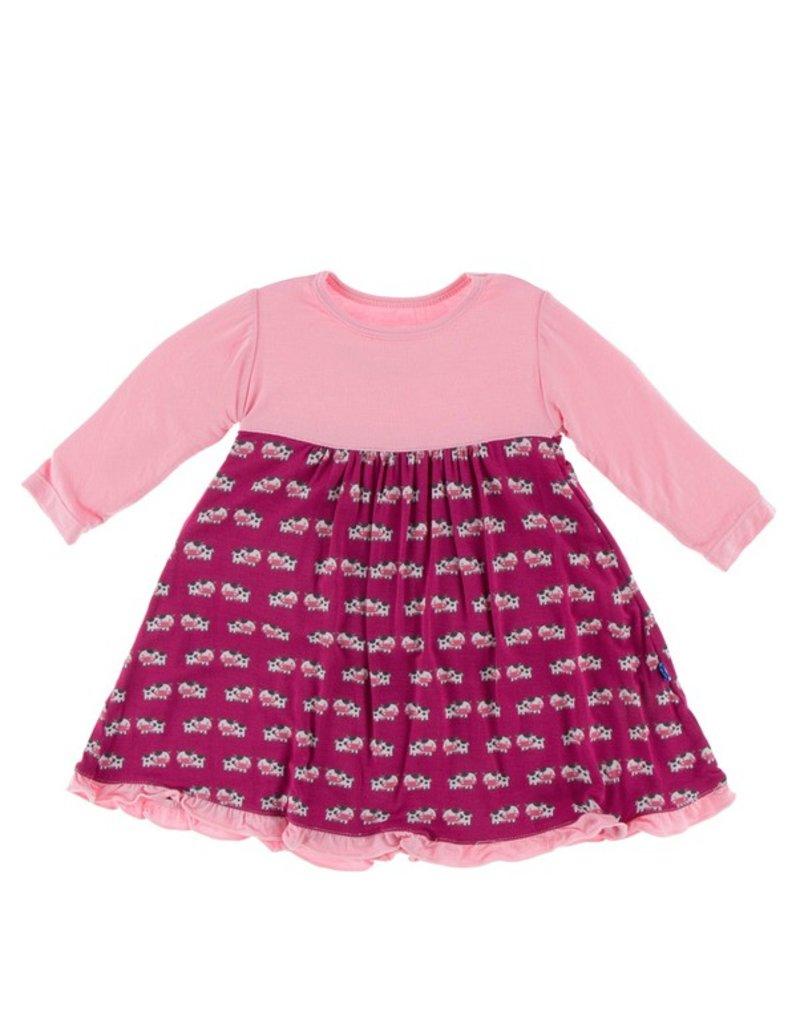 KICKEE PANTS Berry Cow Long Sleeve Swing Dress
