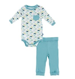 KICKEE PANTS Boy Dino Print Long Sleeve Pocket Outfit Set