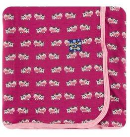 KICKEE PANTS Berry Cow Swaddling Blanket