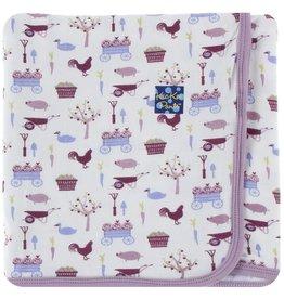 KICKEE PANTS Girl Natural Farm Swaddling Blanket