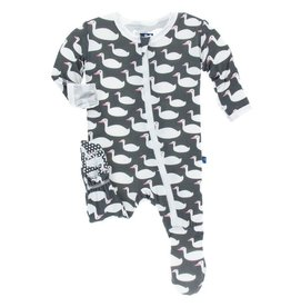 KICKEE PANTS Stone Geese Footie with Zipper