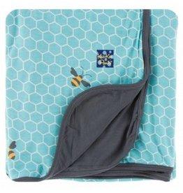 KICKEE PANTS Glacier Honeycomb Stroller Blanket