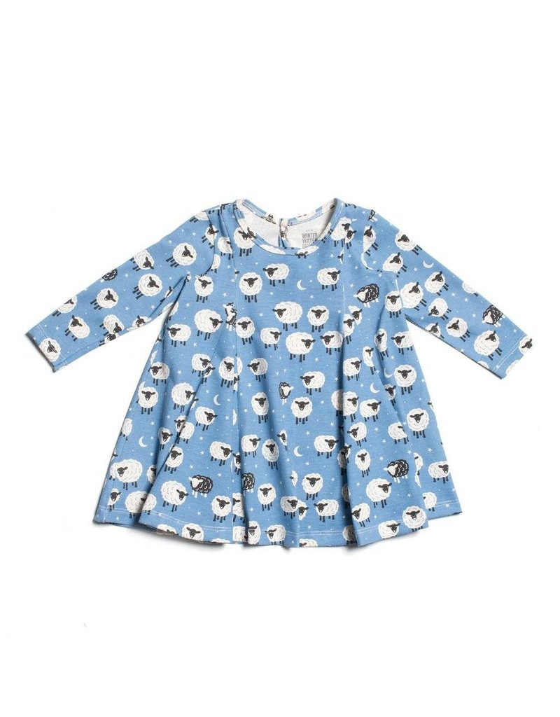 WINTER WATER FACTORY Mia Princess Baby Dress - Counting Sheep Blue