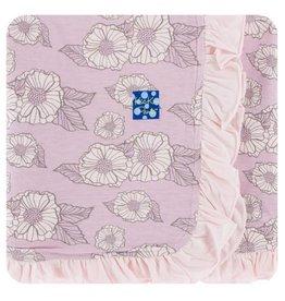 KICKEE PANTS Sweet Pea Poppies Ruffle Stroller Blanket