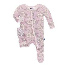 KICKEE PANTS Sweet Pea Poppies Classic Layette Ruffle Footie w/ Snaps