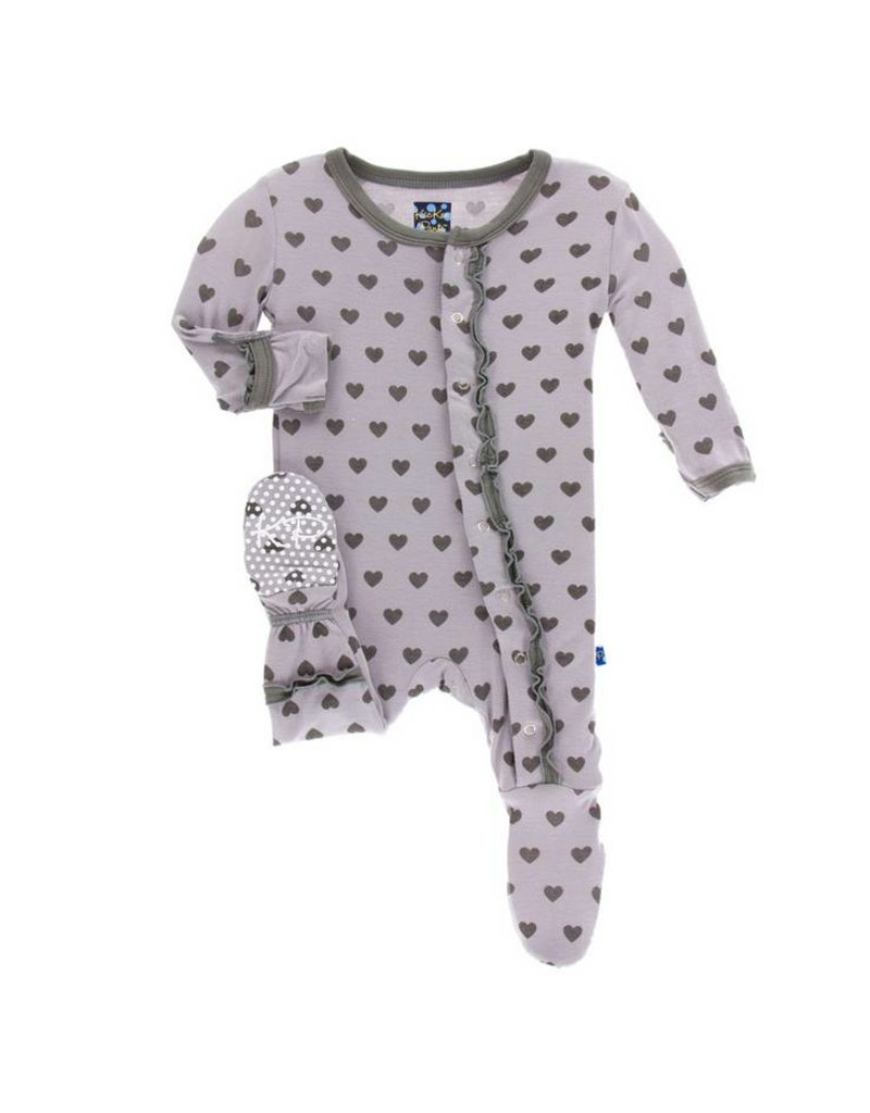KICKEE PANTS Feather Hearts Muffin Ruffle Footie w/ Snaps