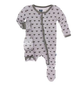 KICKEE PANTS Feather Hearts Classic Layette Ruffle Footie w/ Snaps