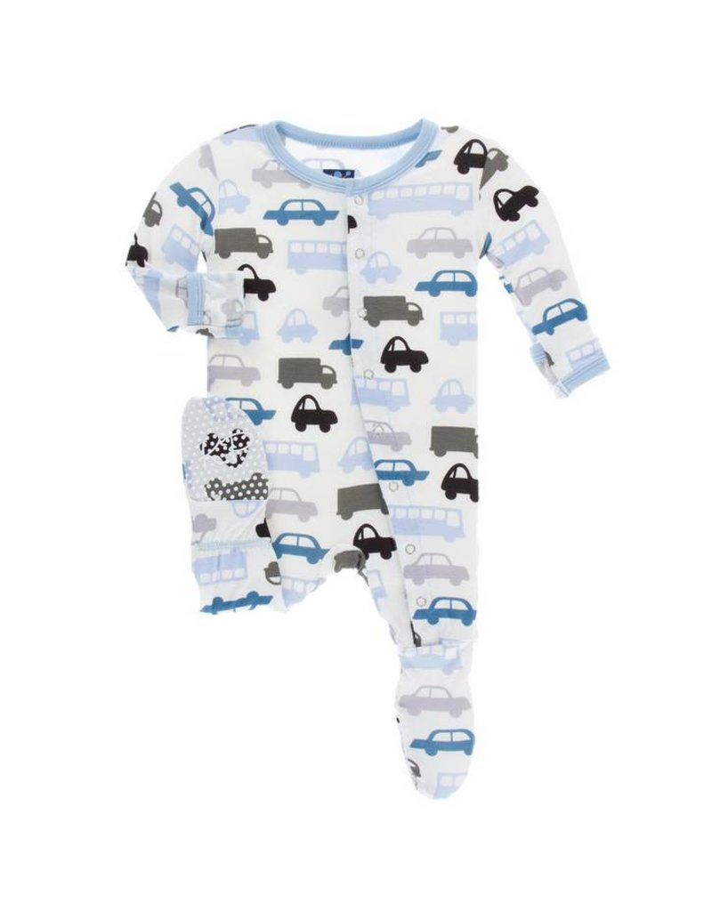 KICKEE PANTS Natural Cars and Trucks Footie with Snaps