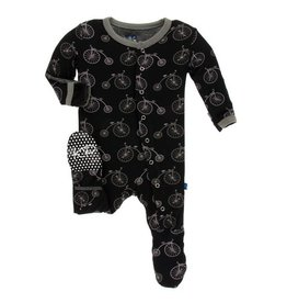 KICKEE PANTS Boy Midnight Bikes Footie with Snaps
