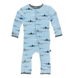 KICKEE PANTS Pond Airplanes Coverall with Snaps