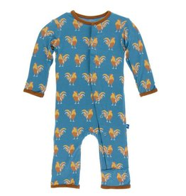 KICKEE PANTS Parisian Rooster Coverall with Snaps