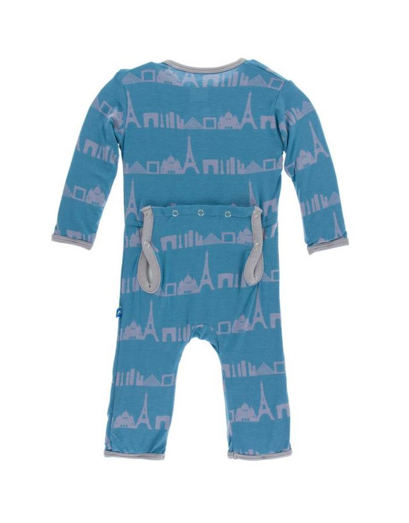 KICKEE PANTS Parisian Skyline Coverall with Snaps