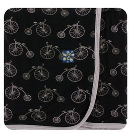 KICKEE PANTS Boy Midnight Bikes Swaddling Blanket