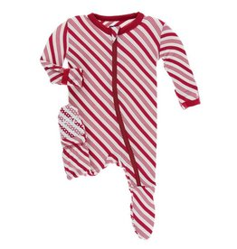 KICKEE PANTS Crimson Candy Cane Stripe Footie w/ Zipper
