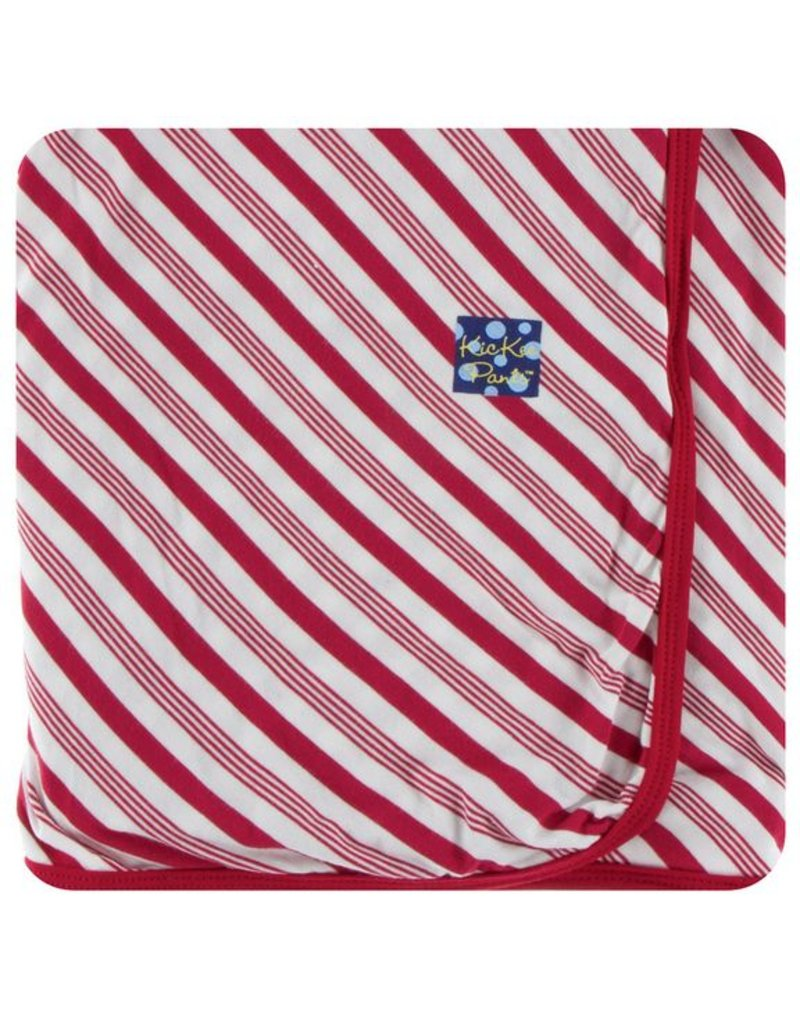 KICKEE PANTS Crimson Candy Cane Stripe Swaddling Blanket