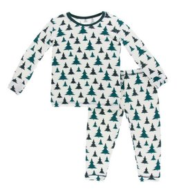 KICKEE PANTS Natural Christmas Trees Long Sleeve Pajama Set